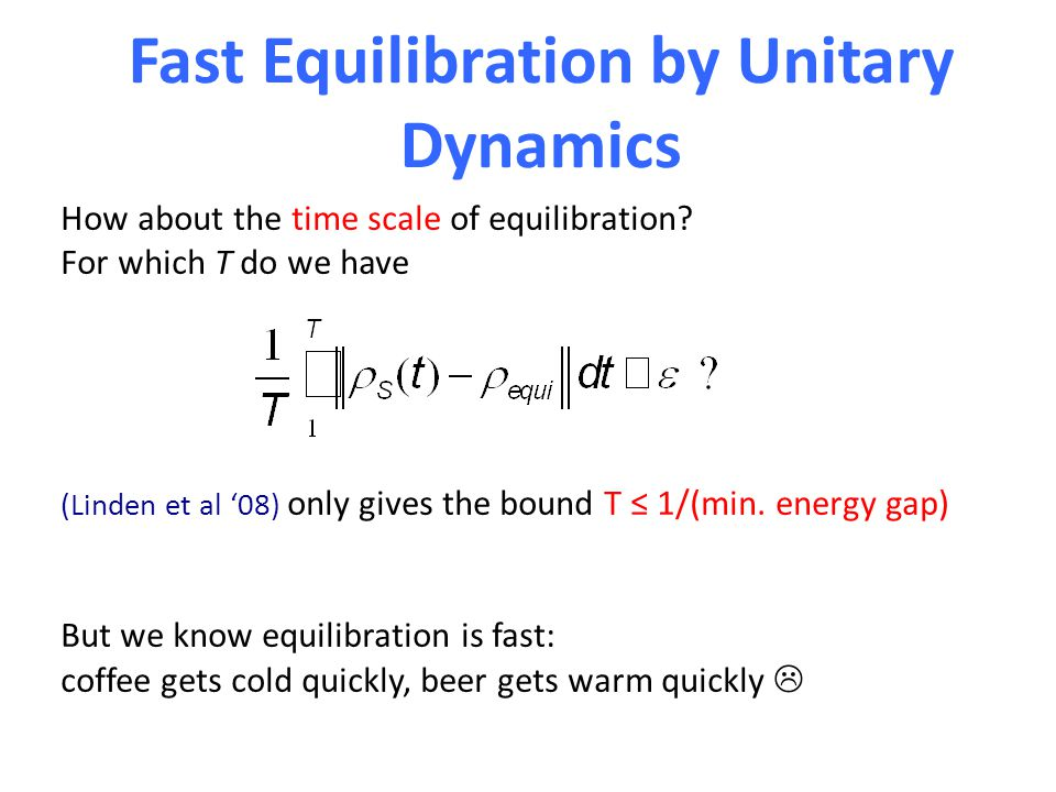 Fast Equilibration by Unitary Dynamics How about the time scale of equilibration.