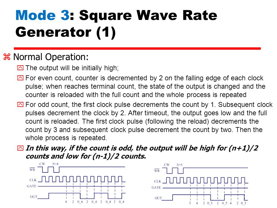 Mode 3: Square Wave Rate Generator (1) zNormal Operation: The output will be initially high; For even count, counter is decremented by 2 on the fallin