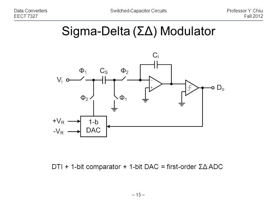 Sigma-Delta (ΣΔ) Modulator – 15 – Data ConvertersSwitched-Capacitor CircuitsProfessor Y. Chiu EECT 7327Fall 2012 DTI + 1-bit comparator + 1-bit DAC =