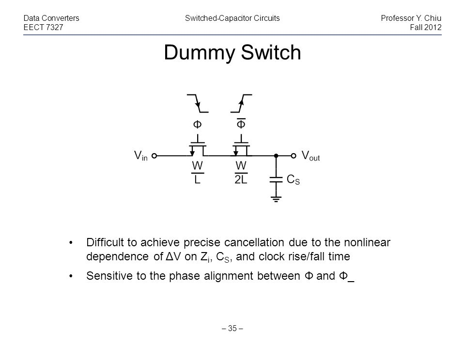 Dummy Switch – 35 – Data ConvertersSwitched-Capacitor CircuitsProfessor Y. Chiu EECT 7327Fall 2012 Difficult to achieve precise cancellation due to th