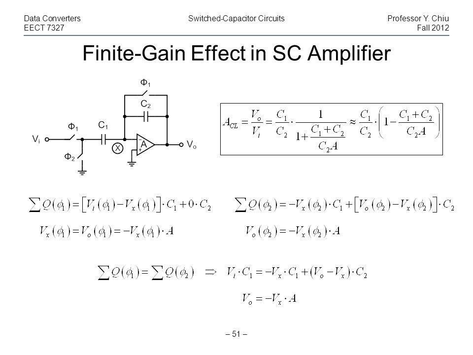 Finite-Gain Effect in SC Amplifier – 51 – Data ConvertersSwitched-Capacitor CircuitsProfessor Y. Chiu EECT 7327Fall 2012