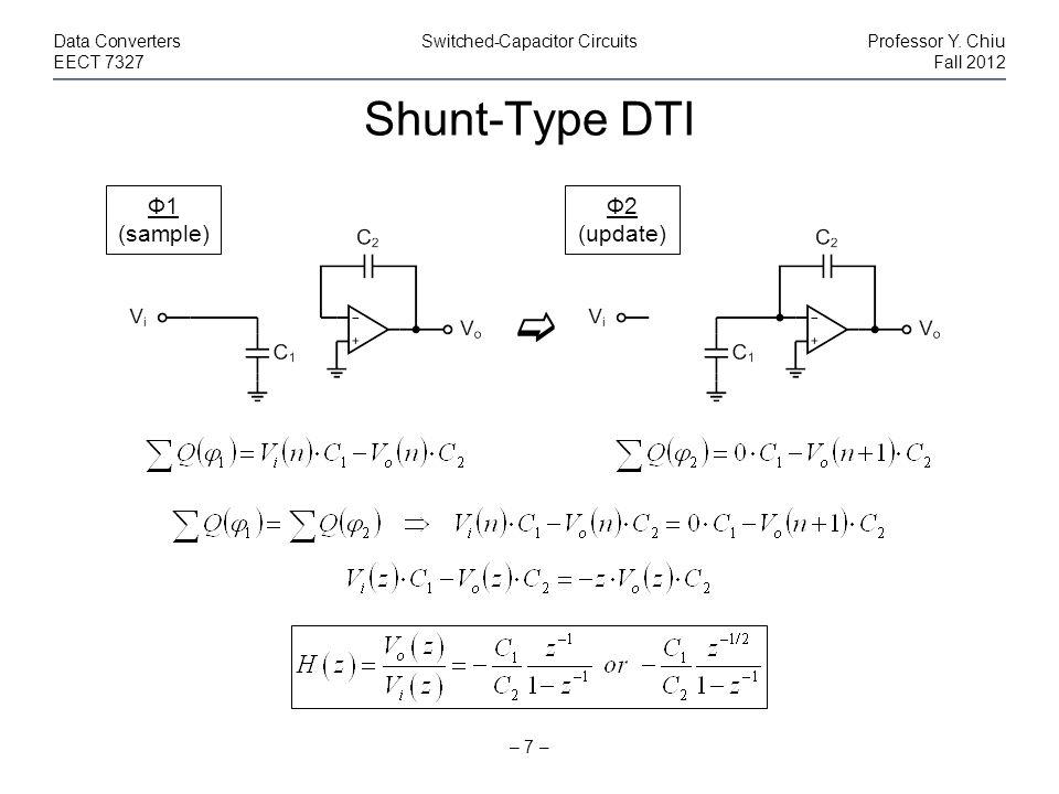 Shunt-Type DTI – 7 – Data ConvertersSwitched-Capacitor CircuitsProfessor Y. Chiu EECT 7327Fall 2012 Ф1 (sample) Ф2 (update)