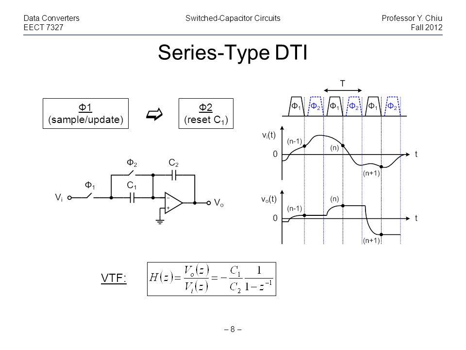 Series-Type DTI – 8 – Data ConvertersSwitched-Capacitor CircuitsProfessor Y. Chiu EECT 7327Fall 2012 Ф1 (sample/update) Ф2 (reset C 1 ) VTF: