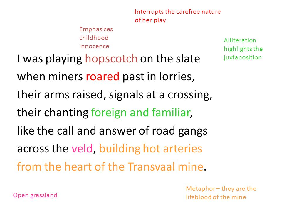 I was playing hopscotch on the slate when miners roared past in lorries, their arms raised, signals at a crossing, their chanting foreign and familiar