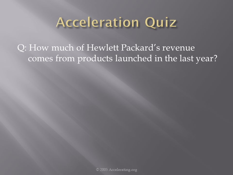 Q: How much of Hewlett Packards revenue comes from products launched in the last year.