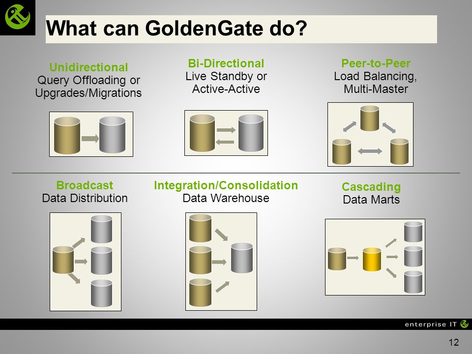 12 Unidirectional Query Offloading or Upgrades/Migrations Bi-Directional Live Standby or Active-Active Peer-to-Peer Load Balancing, Multi-Master Broadcast Data Distribution Integration/Consolidation Data Warehouse Cascading Data Marts What can GoldenGate do?