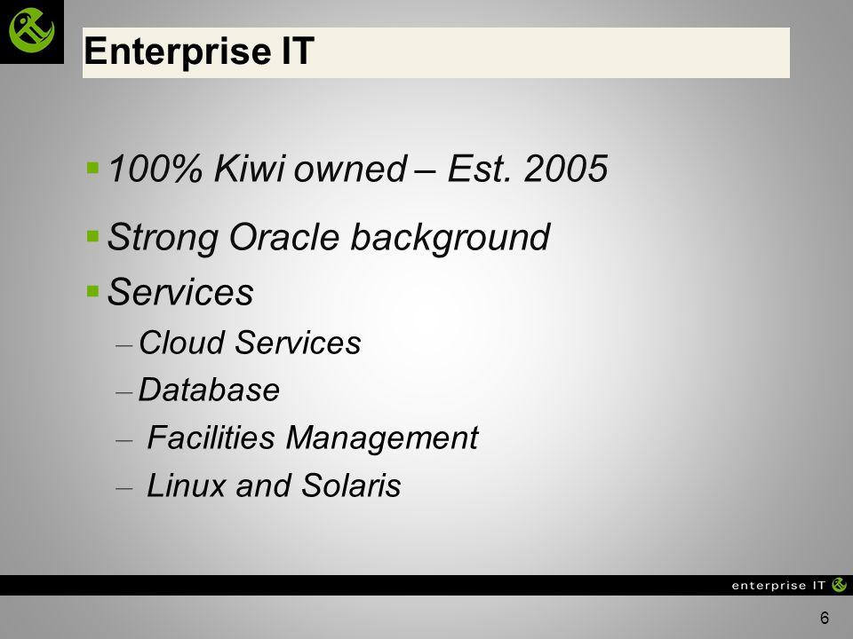 6 100% Kiwi owned – Est. 2005 Strong Oracle background Services – Cloud Services – Database – Facilities Management – Linux and Solaris Enterprise IT