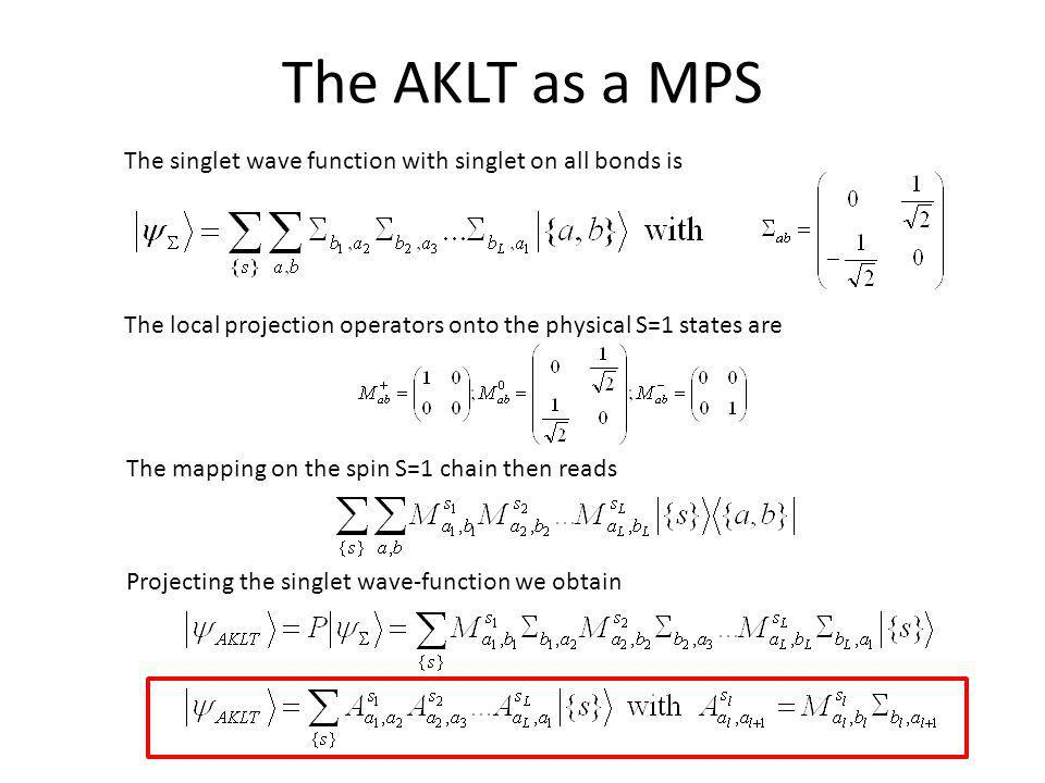 The AKLT as a MPS The local projection operators onto the physical S=1 states are The mapping on the spin S=1 chain then reads Projecting the singlet