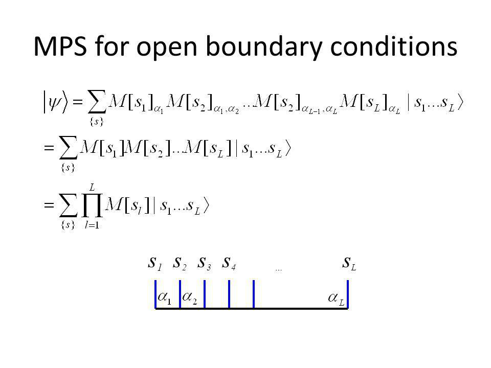 MPS representation of the time-evolution A MPS wave-function is written as The matrices can be represented diagramaticaly as s And the contractions (coefficients), as: s 1 s 2 s 3 s 4 s N