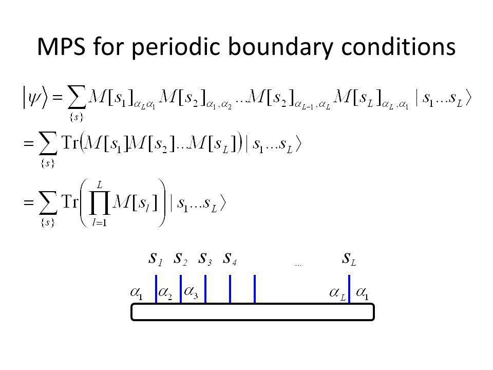 MPS for periodic boundary conditions s 1 s 2 s 3 s 4 … s L