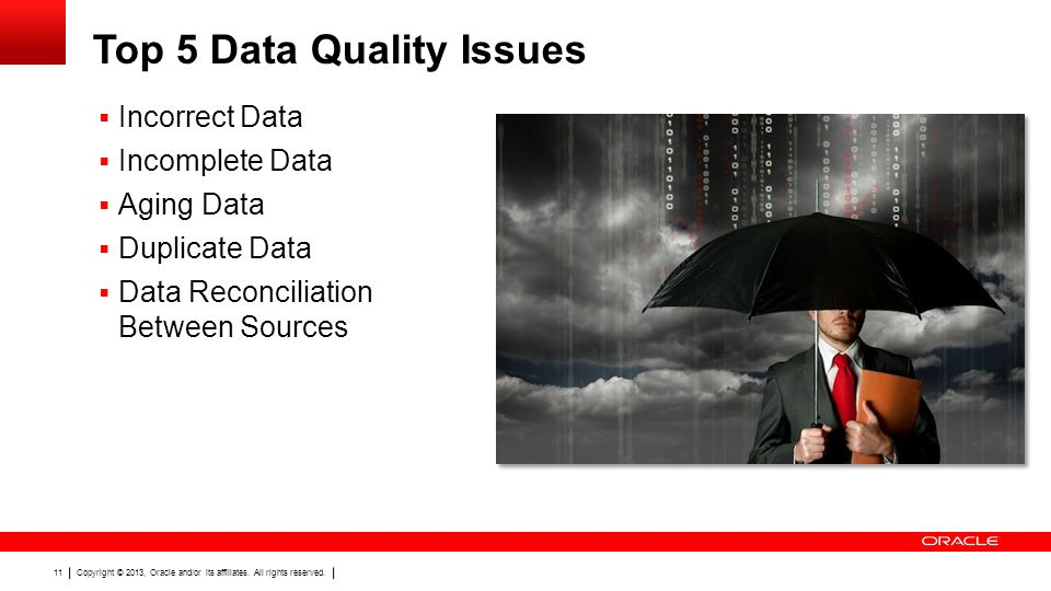 Copyright © 2013, Oracle and/or its affiliates. All rights reserved. 11 Top 5 Data Quality Issues Incorrect Data Incomplete Data Aging Data Duplicate