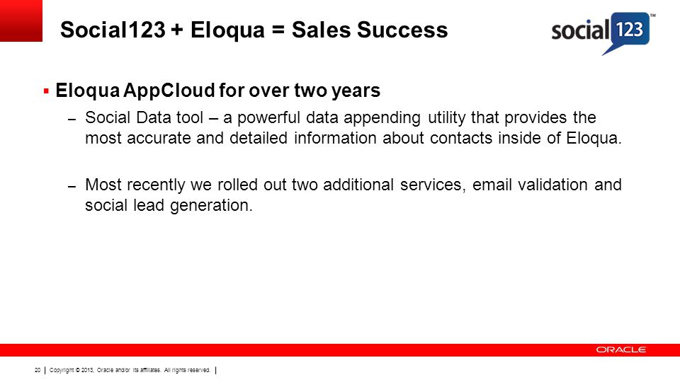 Copyright © 2013, Oracle and/or its affiliates. All rights reserved. 20 Social123 + Eloqua = Sales Success Eloqua AppCloud for over two years – Social