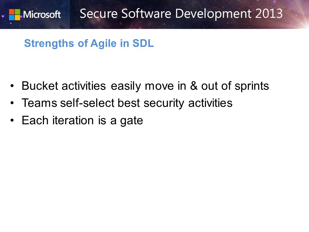 Bucket activities easily move in & out of sprints Teams self-select best security activities Each iteration is a gate Strengths of Agile in SDL