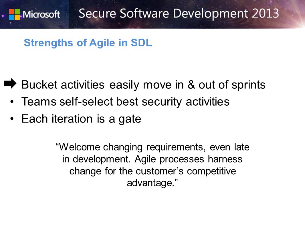 Bucket activities easily move in & out of sprints Teams self-select best security activities Each iteration is a gate Strengths of Agile in SDL Welcome changing requirements, even late in development.