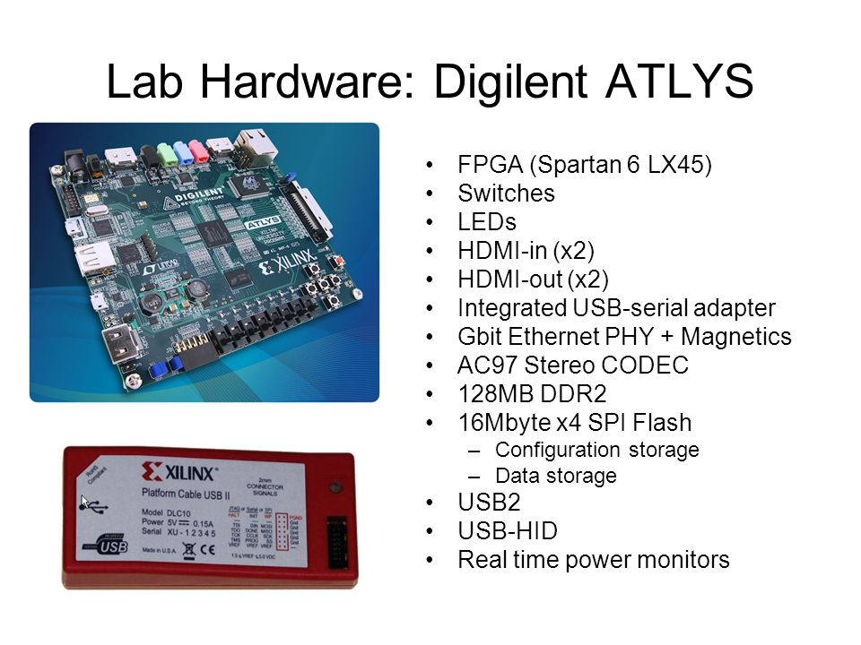Lab Hardware: Digilent ATLYS FPGA (Spartan 6 LX45) Switches LEDs HDMI-in (x2) HDMI-out (x2) Integrated USB-serial adapter Gbit Ethernet PHY + Magnetics AC97 Stereo CODEC 128MB DDR2 16Mbyte x4 SPI Flash –Configuration storage –Data storage USB2 USB-HID Real time power monitors