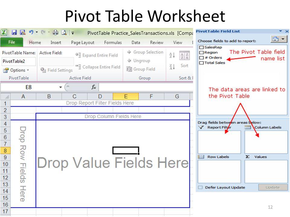 Pivot Table Worksheet 12