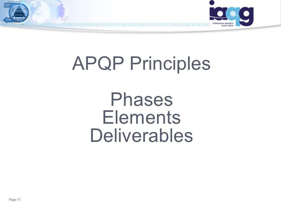 APQP Principles Phases Elements Deliverables Page 17
