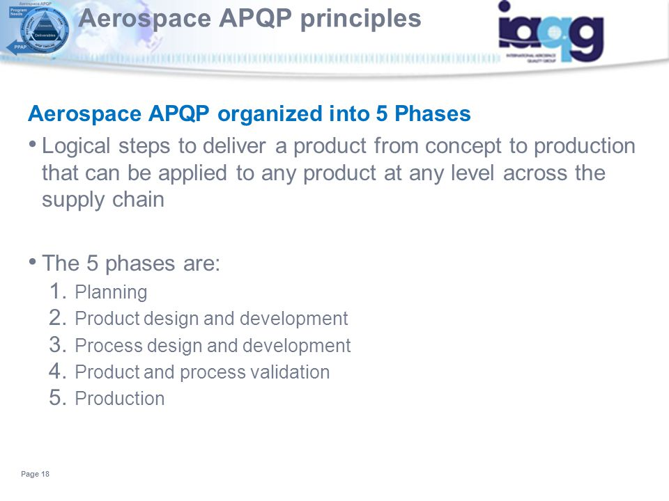 Aerospace APQP principles Aerospace APQP organized into 5 Phases Logical steps to deliver a product from concept to production that can be applied to