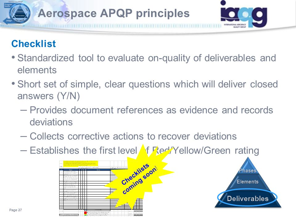 Checklist Standardized tool to evaluate on-quality of deliverables and elements Short set of simple, clear questions which will deliver closed answers
