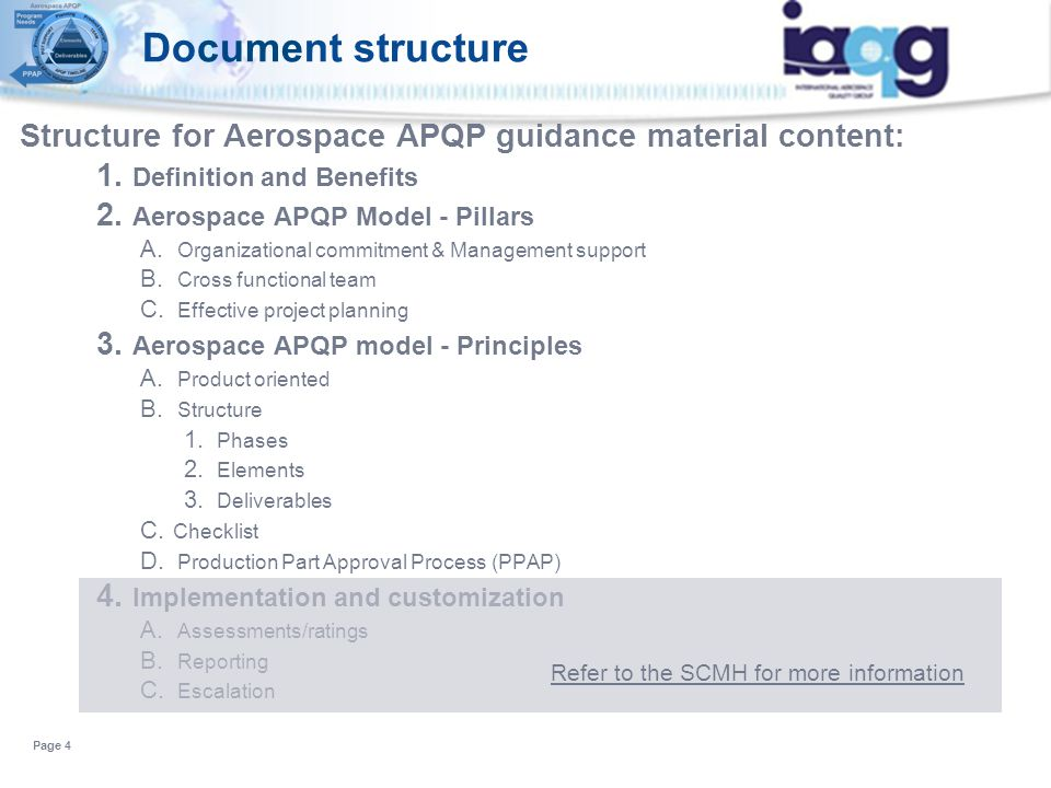 Document structure Structure for Aerospace APQP guidance material content: 1. Definition and Benefits 2. Aerospace APQP Model - Pillars A. Organizatio