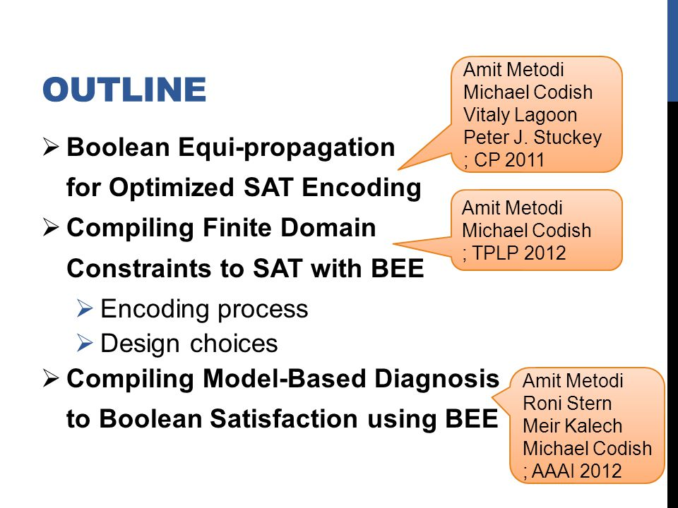 OUTLINE Boolean Equi-propagation for Optimized SAT Encoding Compiling Finite Domain Constraints to SAT with BEE Encoding process Design choices Compiling Model-Based Diagnosis to Boolean Satisfaction using BEE Amit Metodi Michael Codish Vitaly Lagoon Peter J.