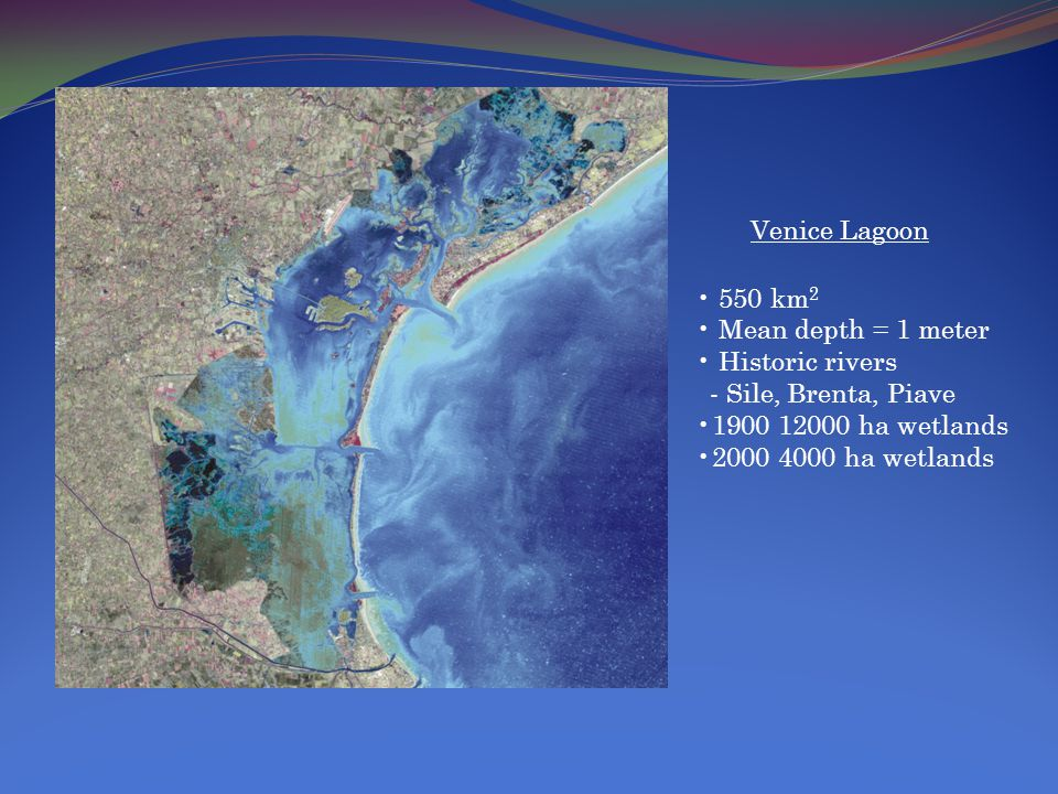 Venice Lagoon 550 km 2 Mean depth = 1 meter Historic rivers - Sile, Brenta, Piave 1900 12000 ha wetlands 2000 4000 ha wetlands