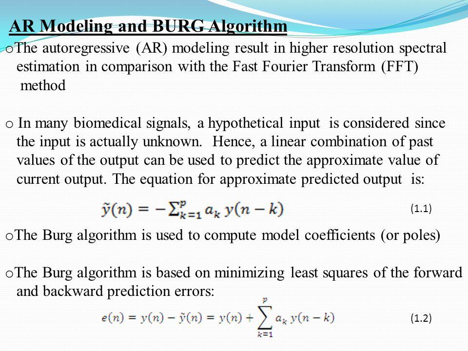 (1.3) (1.4) (1.5) Calculation of Auto-Regression parameters