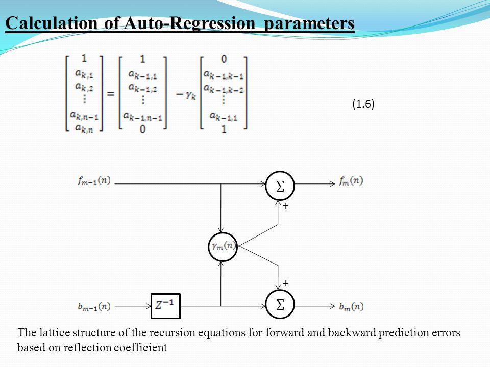 X X X ÷ x 2 + Reg X X + + The block diagram of the AR coefficients computation loop