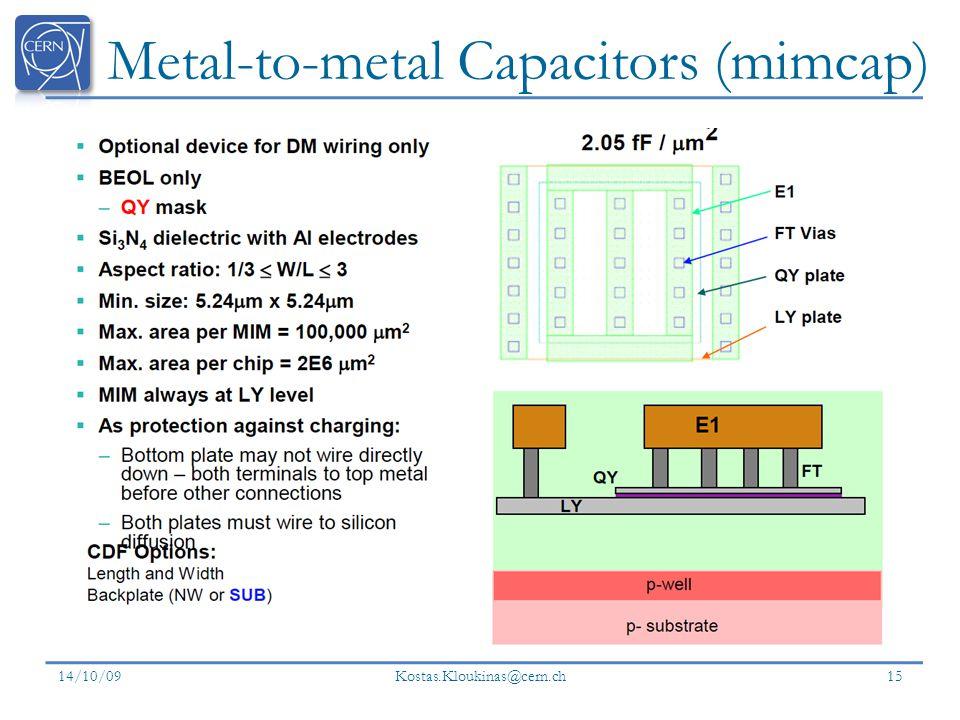Metal-to-metal Capacitors (mimcap) 14/10/09 Kostas.Kloukinas@cern.ch 15