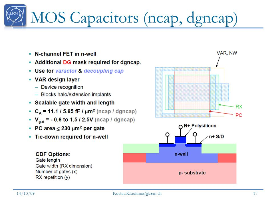 MOS Capacitors (ncap, dgncap) 14/10/09 Kostas.Kloukinas@cern.ch 17