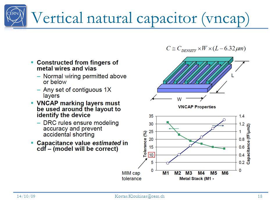 Vertical natural capacitor (vncap) 14/10/09 Kostas.Kloukinas@cern.ch 18