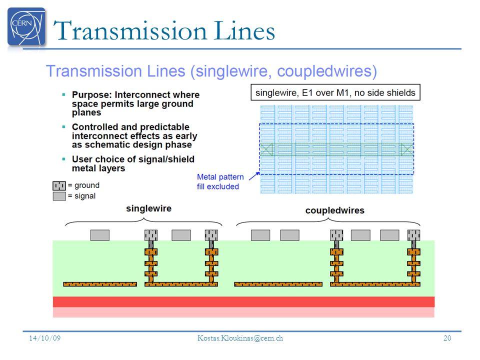 Transmission Lines 14/10/09 Kostas.Kloukinas@cern.ch 20