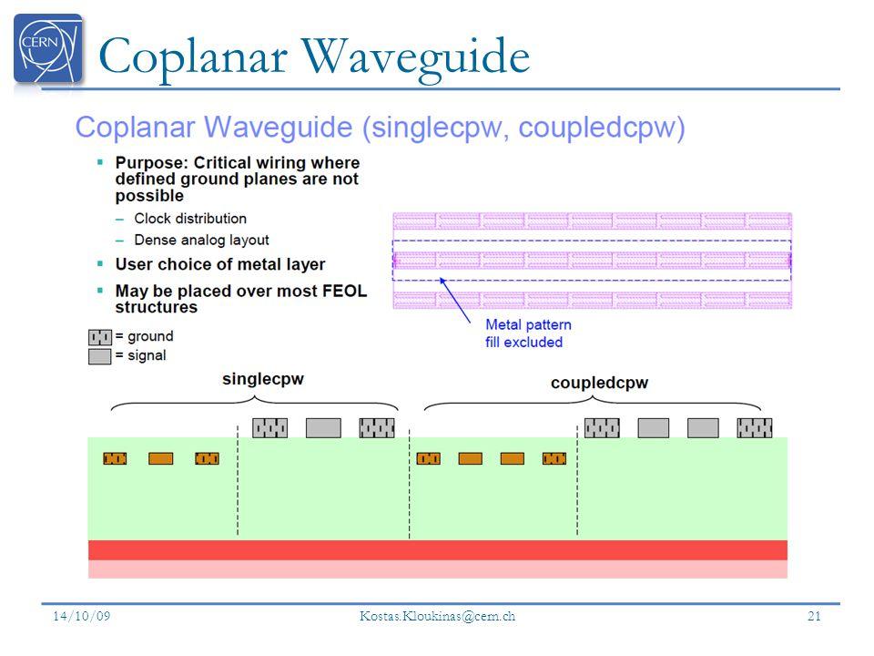 Coplanar Waveguide 14/10/09 Kostas.Kloukinas@cern.ch 21