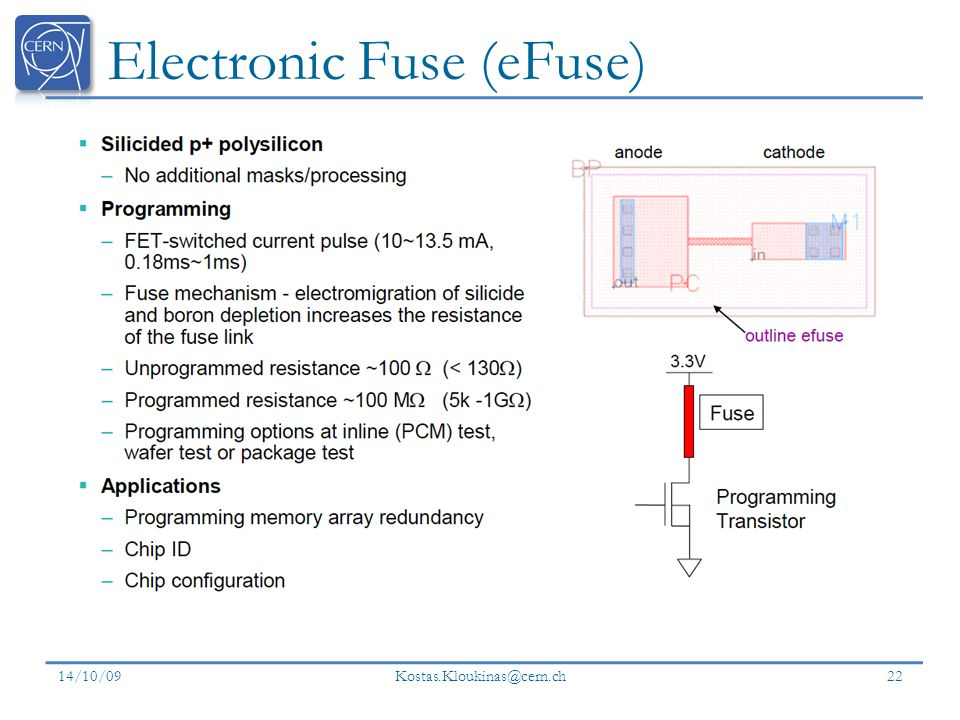Electronic Fuse (eFuse) 14/10/09 Kostas.Kloukinas@cern.ch 22