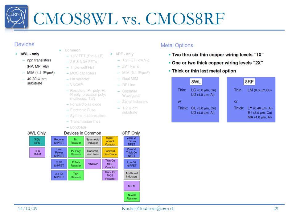 CMOS8WL vs. CMOS8RF 14/10/09 Kostas.Kloukinas@cern.ch 29