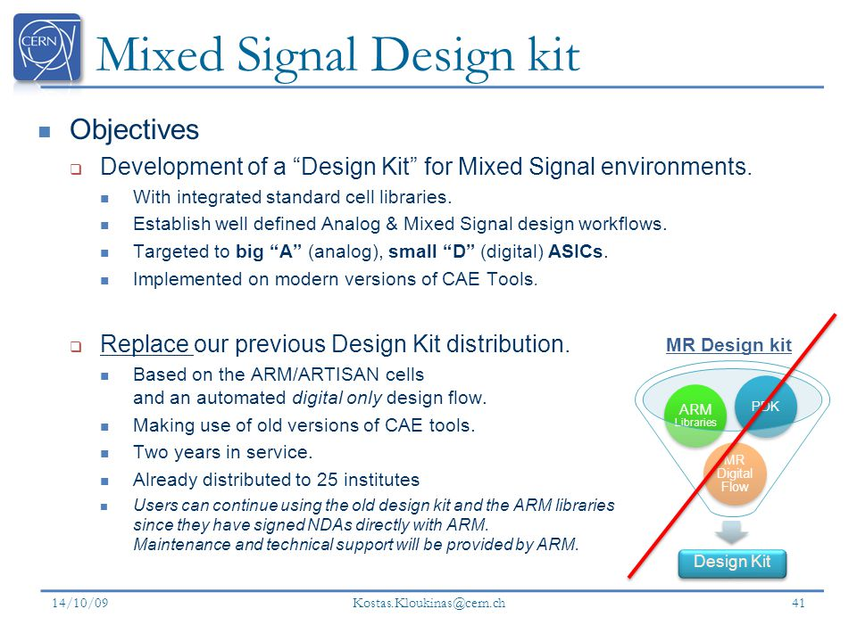 Mixed Signal Design kit Objectives Development of a Design Kit for Mixed Signal environments.