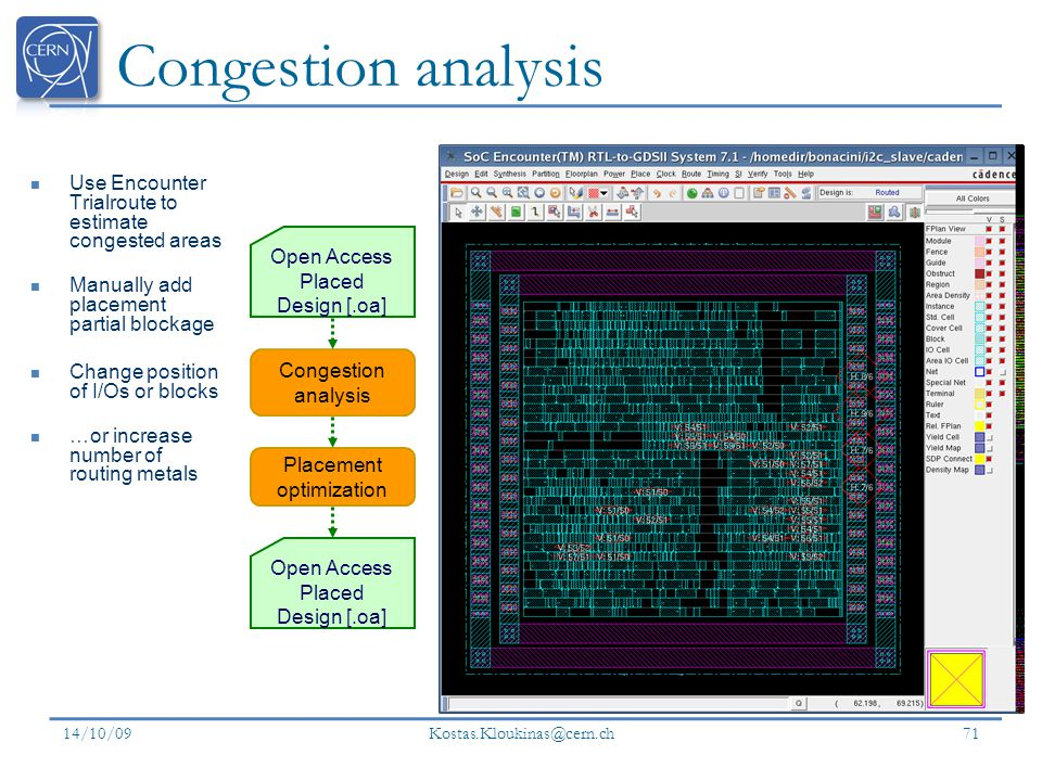 Congestion analysis 14/10/09 Kostas.Kloukinas@cern.ch 71 Use Encounter Trialroute to estimate congested areas Manually add placement partial blockage Change position of I/Os or blocks …or increase number of routing metals Open Access Placed Design [.oa] Congestion analysis Placement optimization Open Access Placed Design [.oa]