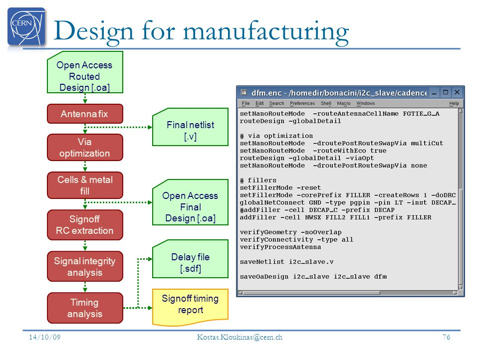 Design for manufacturing 14/10/09 Kostas.Kloukinas@cern.ch 76 Signoff RC extraction Cells & metal fill Open Access Routed Design [.oa] Antenna fix Via optimization Timing analysis Open Access Final Design [.oa] Signoff timing report Delay file [.sdf] Final netlist [.v] Signal integrity analysis