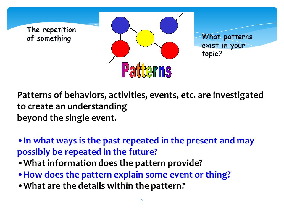 22 Patterns of behaviors, activities, events, etc. are investigated to create an understanding beyond the single event. In what ways is the past repea