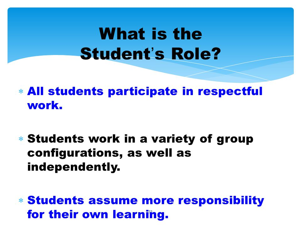 33 What is the Student s Role. All students participate in respectful work.