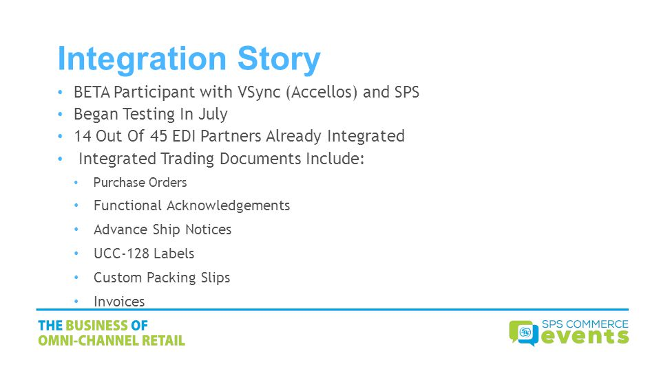 Integration Story BETA Participant with VSync (Accellos) and SPS Began Testing In July 14 Out Of 45 EDI Partners Already Integrated Integrated Trading