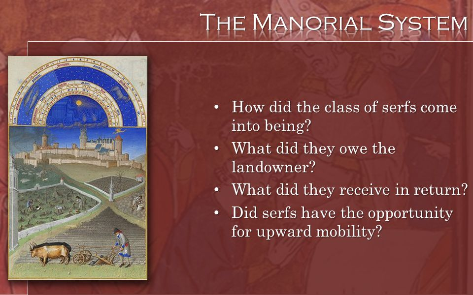 How did the class of serfs come into being? How did the class of serfs come into being? What did they owe the landowner? What did they owe the landown