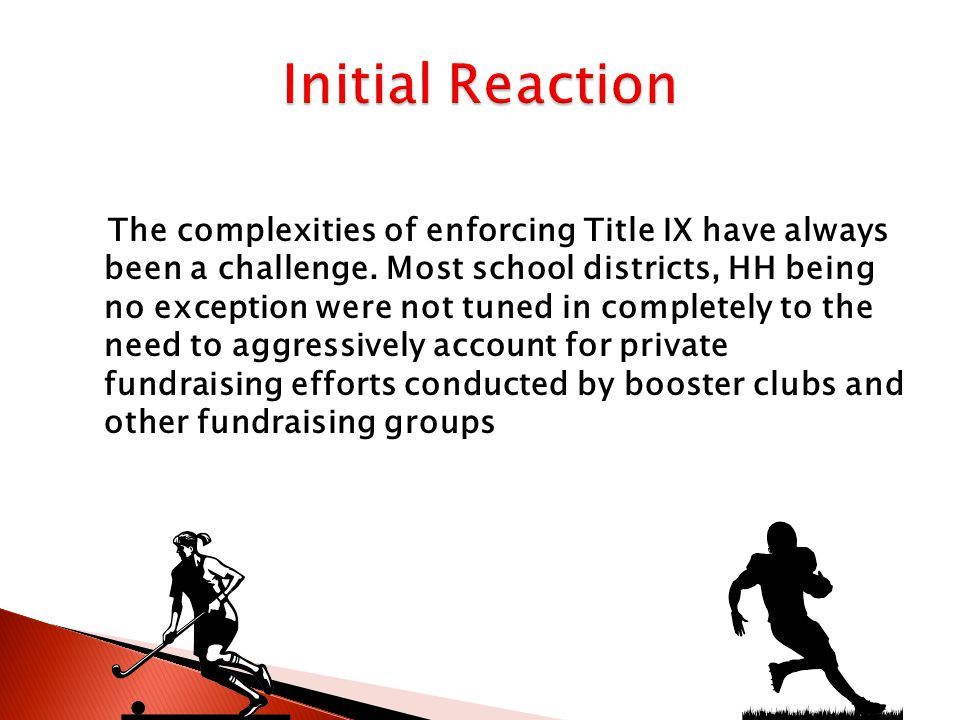 Began a self-study of the athletic program Designed and offered a Resolution Agreement to the OCR After the OCR accepted this Agreement the district took the following steps to investigate and correct any inequities that might exist