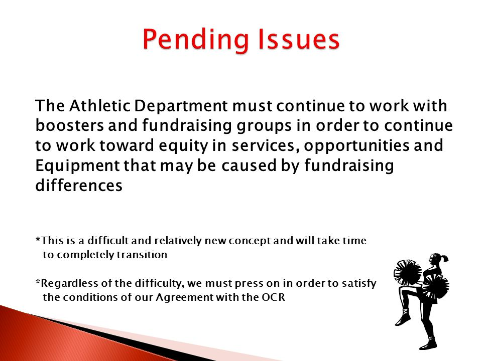 Developing a single booster/fundraising group district wide supervised by the district Limit all fundraising efforts to a level that all groups could successfully maintain that level District supplements the fundraising efforts of less successful groups through gate receipts and snack bar revenues Sharing of benefits, equipment, services and opportunities by gender and sport Eliminate outside fundraising efforts altogether