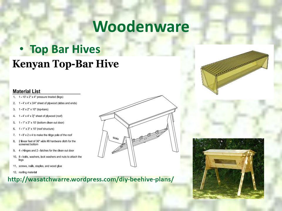 Woodenware Top Bar Hives http://wasatchwarre.wordpress.com/diy-beehive-plans/