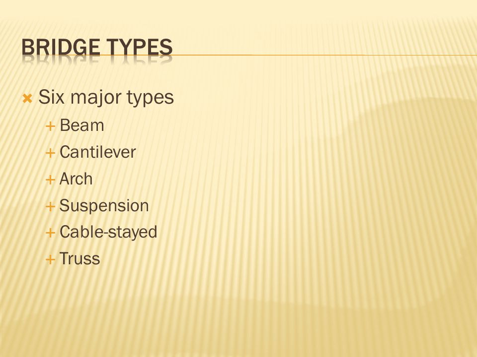 Six major types Beam Cantilever Arch Suspension Cable-stayed Truss