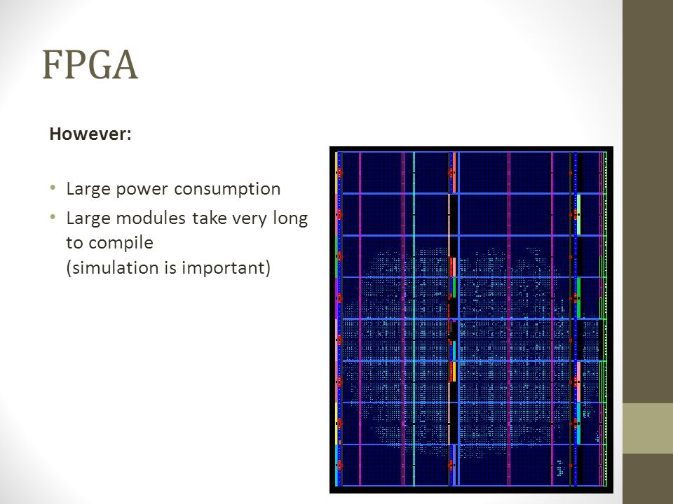 FPGA However: Large power consumption Large modules take very long to compile (simulation is important)
