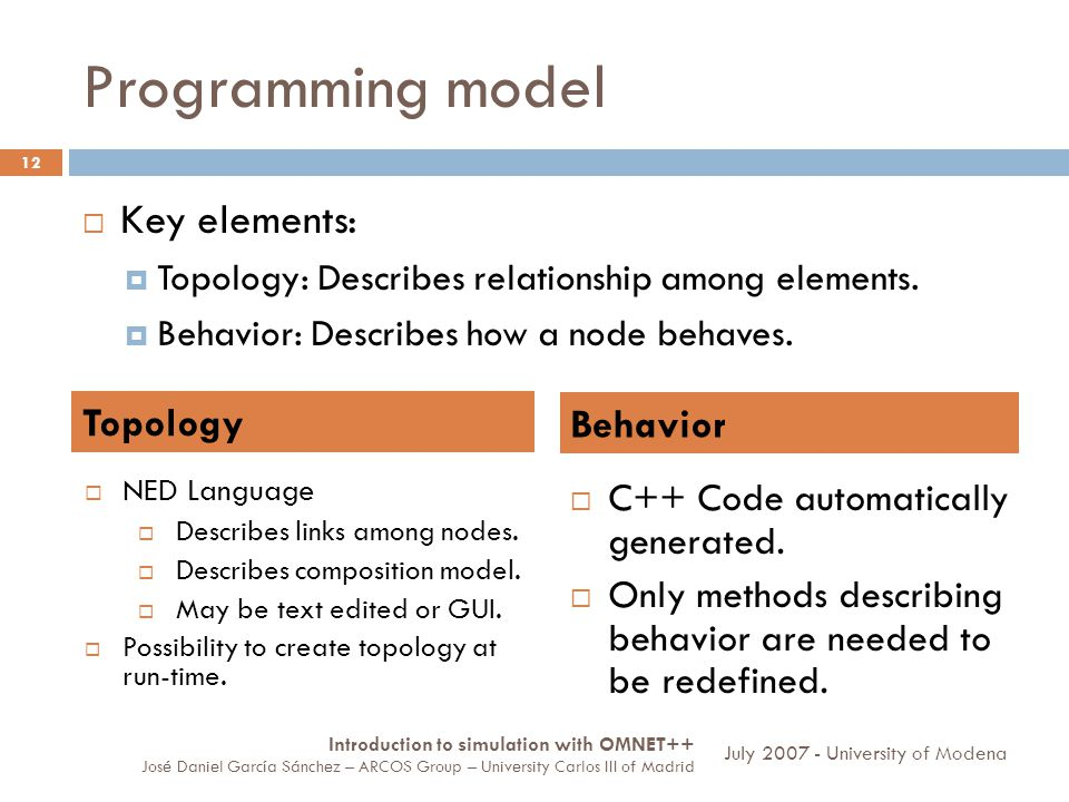 Programming model 12 Key elements: Topology: Describes relationship among elements.