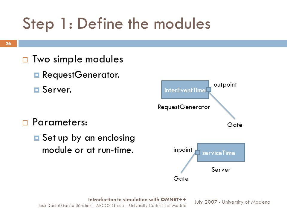Step 1: Define the modules 26 Two simple modules RequestGenerator. Server. Parameters: Set up by an enclosing module or at run-time. interEventTime Re