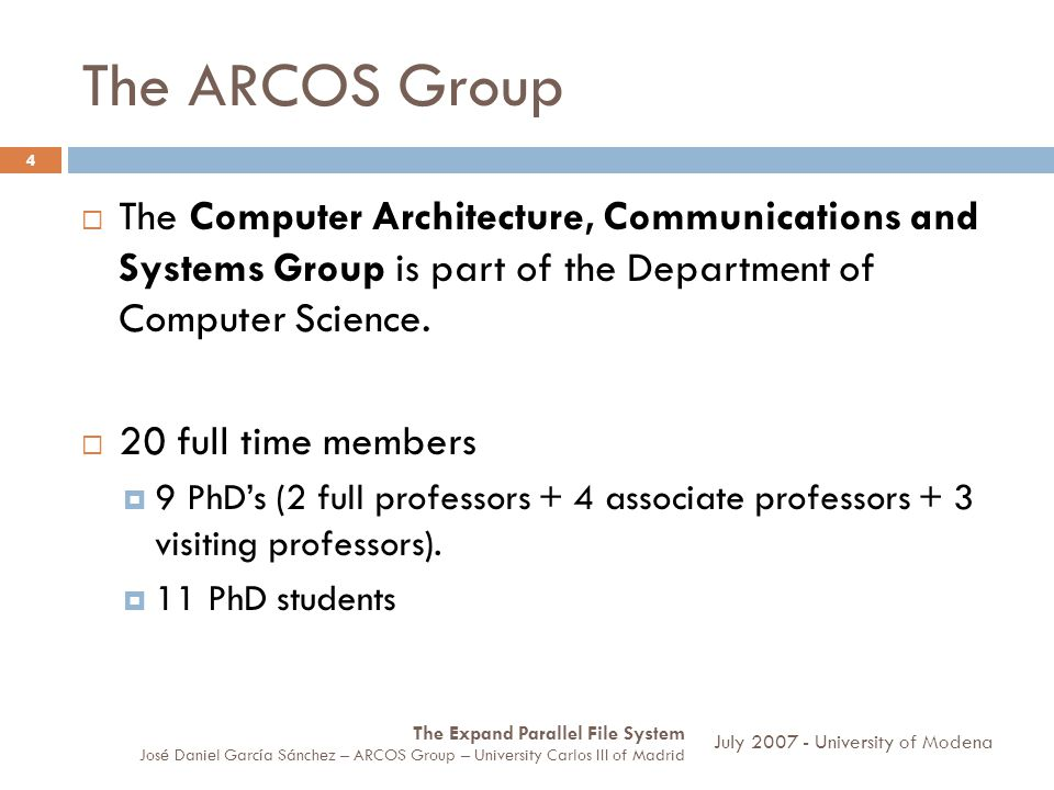 The ARCOS Group The Computer Architecture, Communications and Systems Group is part of the Department of Computer Science.